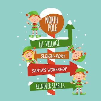 Weihnachtskarte mit elfen und singt.