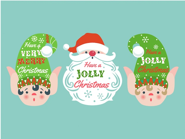 Weihnachtskarte mit elfen und weihnachtsmann.