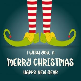 Weihnachtskarte mit elfenbeinen