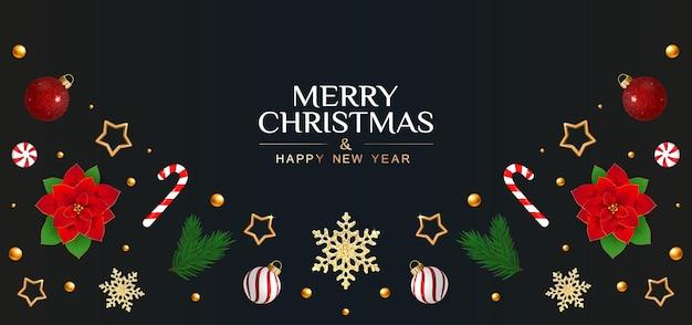 Weihnachtskarte mit festlichen elementen weihnachtsstern schneeflocken tannenzweige und sterne