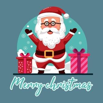 Weihnachtskarte mit fröhlichem weihnachtsmann