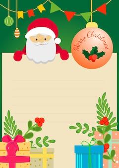 Weihnachtskarte mit geschenken und weihnachtsmann. vektor-illustration.