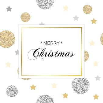Weihnachtskarte mit glitzernden kreisen