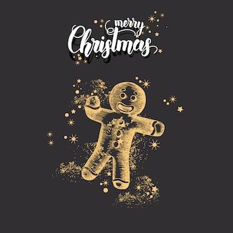 Weihnachtskarte mit hand gezeichnetem gekritzel goldenem weihnachtslebkuchenmann und -funkeln.