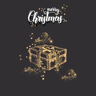 Weihnachtskarte mit hand gezeichnetem goldenem geschenk und funkeln des gekritzels weihnachtsauf schwarzem. handgemachtes zitat