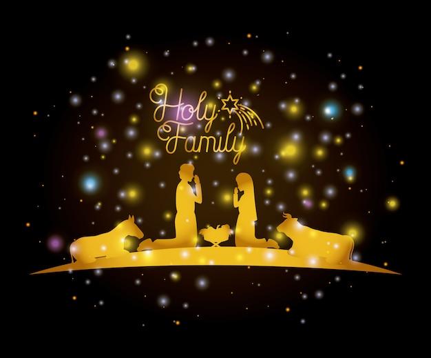 Weihnachtskarte mit heiliger familie und tieren