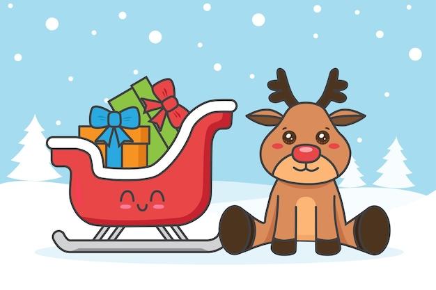 Weihnachtskarte mit hirsch und schlitten auf dem schnee