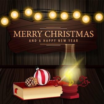Weihnachtskarte mit holzschild