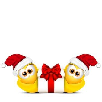 Weihnachtskarte mit hühnern in der weihnachtsmütze. hahnsymbol neujahr