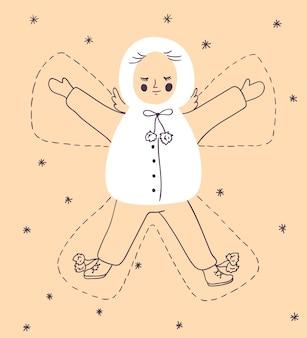 Weihnachtskarte mit kind, das einen schneeengel macht.