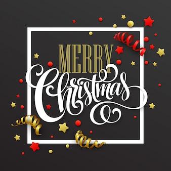 Weihnachtskarte mit konfetti und bändern, grußkarte