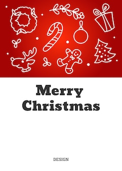 Weihnachtskarte mit konturfiguren aus lebkuchen, weihnachtsbaum und kranz. vektor-illustration.