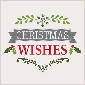 Weihnachtskarte mit kranz und weihnachtswunschbanner