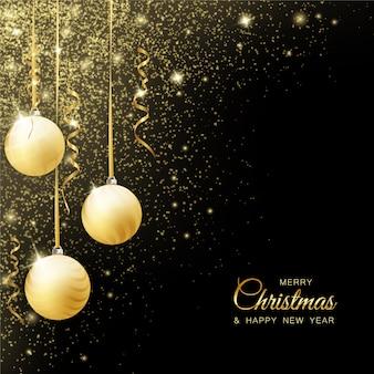 Weihnachtskarte mit kugeln und band