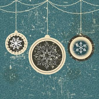 Weihnachtskarte mit kugeln und schneeflocken-vektor-illustration