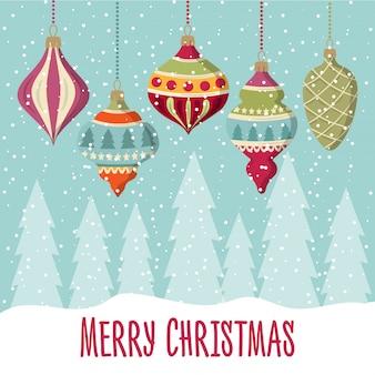 Weihnachtskarte mit kugeln