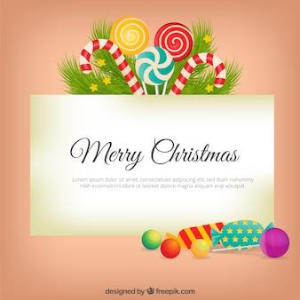 Weihnachtskarte mit leckeren süßigkeiten