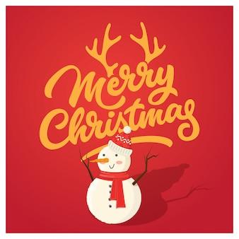 Weihnachtskarte mit lustigem schneemann
