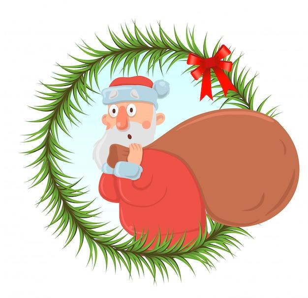 Weihnachtskarte mit lustigem weihnachtsmann, der große tasche von geschenken trägt. der weihnachtsmann sieht verwirrt und verwirrt aus. runder rahmen aus tannenzweigen, element. zeichentrickfigur illustration.