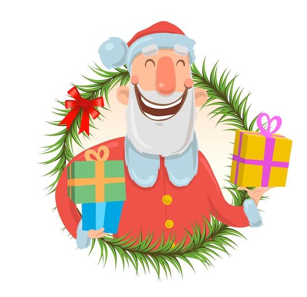 Weihnachtskarte mit lustigem weihnachtsmann lächelnd.