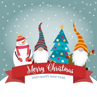 Weihnachtskarte mit lustigen zwergen und schneemann