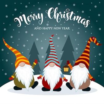 Weihnachtskarte mit lustigen zwergen