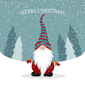 Weihnachtskarte mit niedlichem gnom