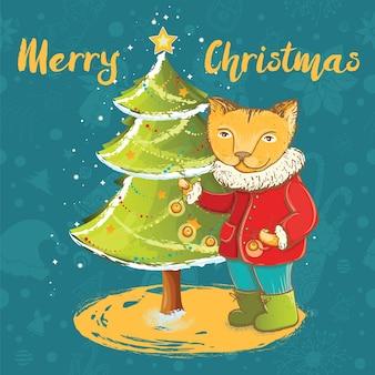 Weihnachtskarte mit niedlichem kätzchen, das weihnachtsbaum verziert.