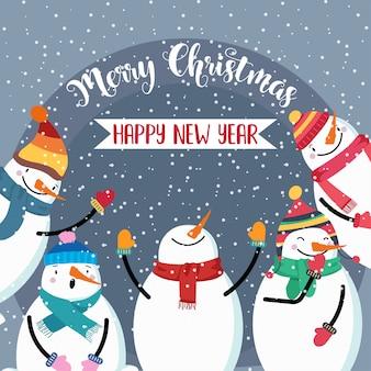 Weihnachtskarte mit niedlichem Schneemann und Wünschen