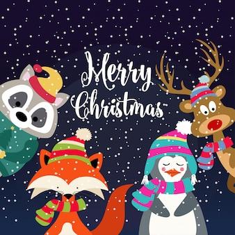 Weihnachtskarte mit niedlichen gekleideten tieren und wünschen