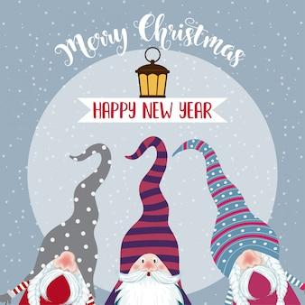 Weihnachtskarte mit niedlichen gnomen und wünschen. eben .