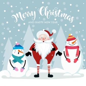 Weihnachtskarte mit niedlichen santa und schneemännern. flaches design. vektor