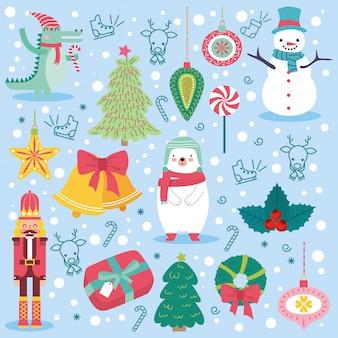 Weihnachtskarte mit niedlichen tieren.