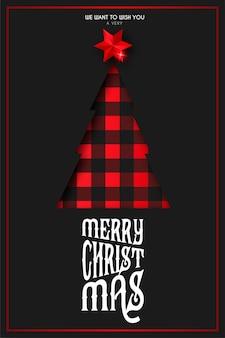 Weihnachtskarte mit papercut baum im schottenstoffmuster