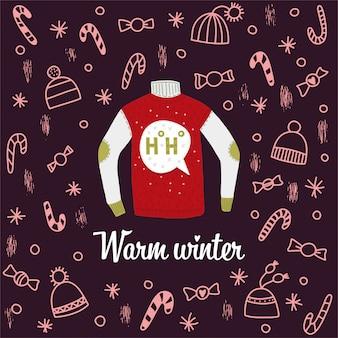 Weihnachtskarte mit pullover und warmem winterwunsch. dunkler hintergrund