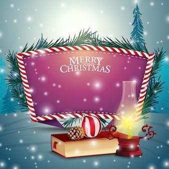 Weihnachtskarte mit purpurroter textschablone und weihnachtsbüchern