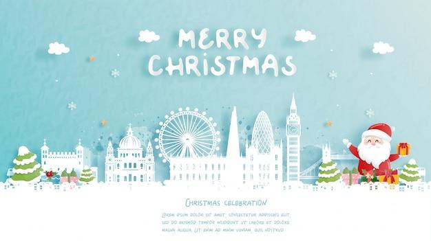 Weihnachtskarte mit reise nach london, england konzept. netter weihnachtsmann und rentier. weltberühmtes wahrzeichen