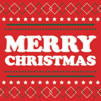 Weihnachtskarte mit roter und grüner farbe, buchstabe der frohen weihnachten auf rotem hintergrund