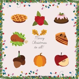 Weihnachtskarte mit saisonalen speisen