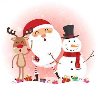 Weihnachtskarte mit santa claus, schneemann und ren.