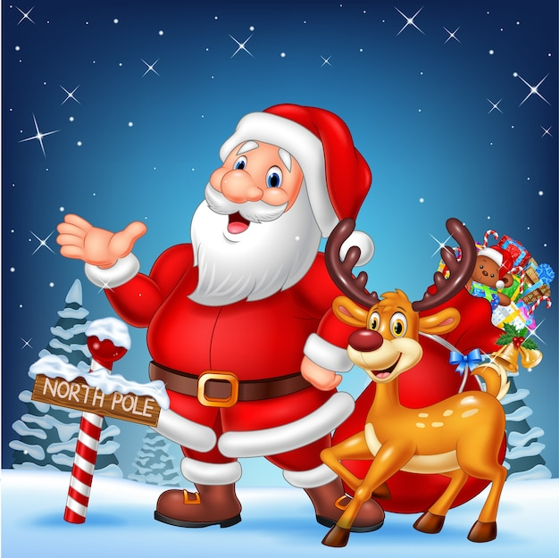 Weihnachtskarte mit santa und seinem rentier