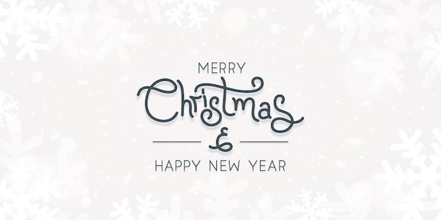 Weihnachtskarte mit schneeflocke über weißer hintergrundvektorillustration