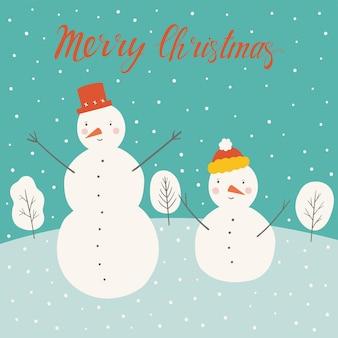 Weihnachtskarte mit schneemännern und schneeflocken frohe weihnachten handgeschriebener schriftzug