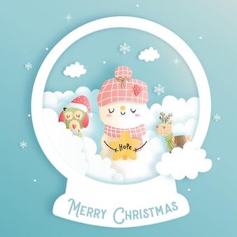 Weihnachtskarte mit schneemann-schneefest und schneekugel