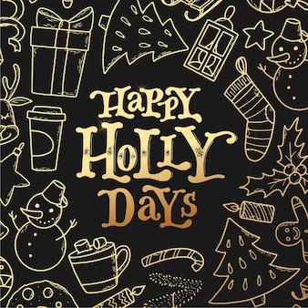Weihnachtskarte mit schriftzug und kritzeleien