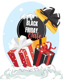 Weihnachtskarte mit schwarzem freitagsverkaufsgeschenk. plakat des weihnachtstages.