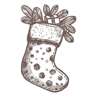 Weihnachtskarte mit skizze weihnachtssocke mit tannenzweigen und geschenken im skizzierten handgezeichneten stil