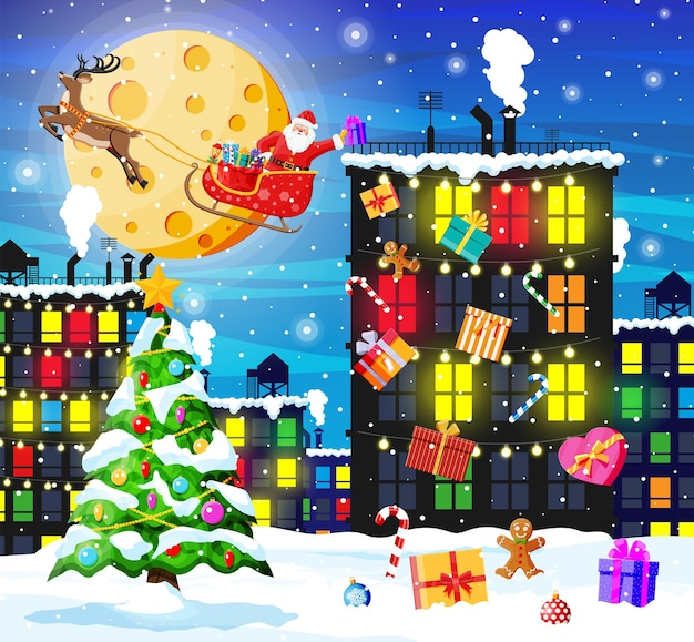 Weihnachtskarte mit stadtlandschaft und schneefall.