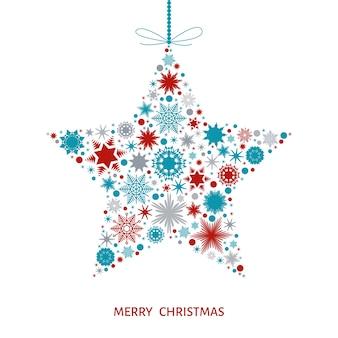 Weihnachtskarte mit stern mit roten blauen und grauen schneeflocken