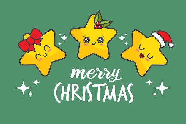 Weihnachtskarte mit sternen lokalisiert auf grün